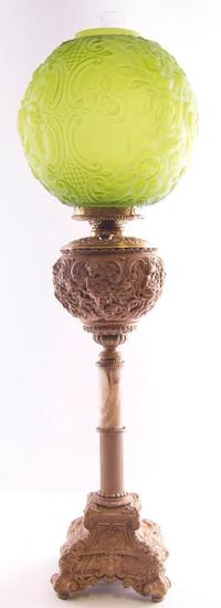 Antique Gone with the Wind Lamp with Cherub and Scroll Design