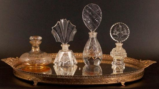 Antique Dresser Mirror with 4 Perfume Bottles