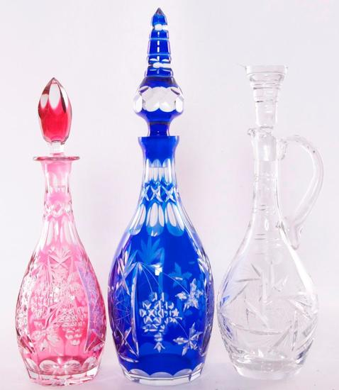 Group of 3 Antique Cut Glass Decanters