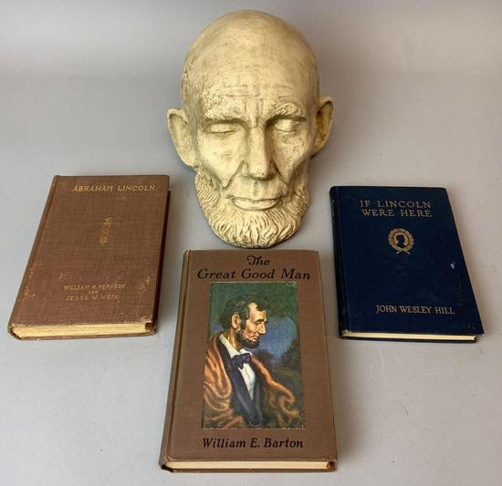 Abraham Lincoln Life Mask with 3 Books