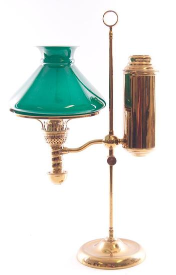 Antique Brass Student Lamp with Green Shade