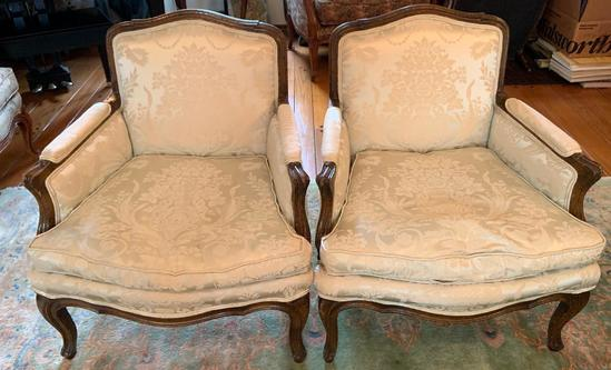Group of 2 white brocade chairs