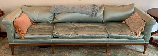 Vintage light green silk couch