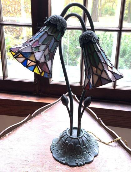 Metal floral pattern lamp with leaded glass shades