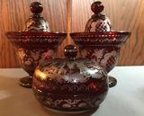 Group of Vintage ruby flash cut glass covered dishes