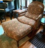Floral chair with ottoman