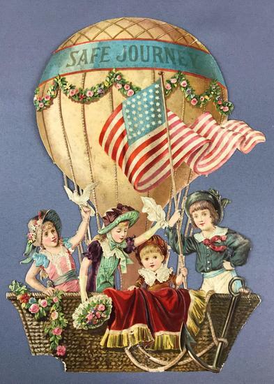 Antique Die Cut Balloon ?Safe Journey?