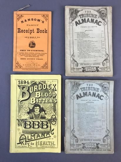 Group of 4 Antique Almanacs and Receipt Book