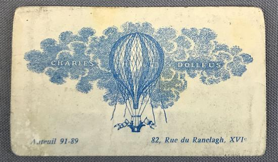 Rare Antique Illustrated Business Card of French Balloonist Charles Dollfus