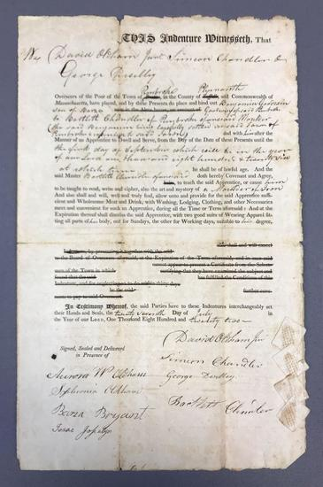 Antique Papers of Indenture Servitude