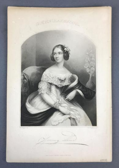 Antique Jenny Lind Engraving with Facsimile Signature
