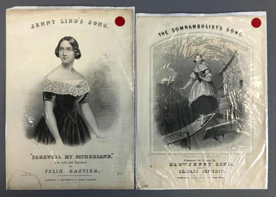 Group of 2 Antique Jenny Lind Song Sheets
