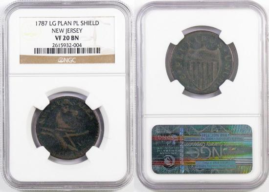 1787 New Jersey Large Plan Plain Sheild Copper (NGC) VF20BN.