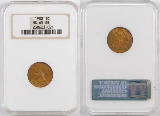 1908 Indian Head Cent (NGC) MS65RB.