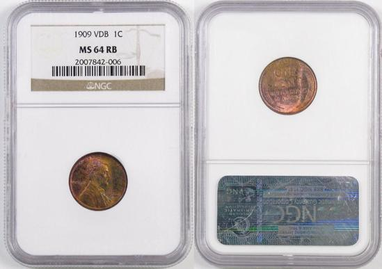 1909 P V.D.B. Lincoln Wheat Cent (NGC) MS64RB.
