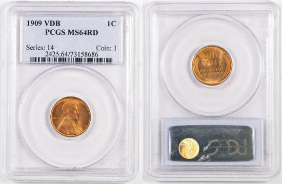 1909 P V.D.B. Lincoln Wheat Cent (PCGS) MS64RD.