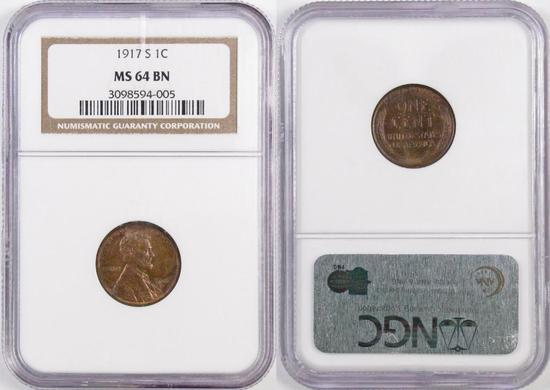 1917 S Lincoln Wheat Cent (NGC) MS64BN.