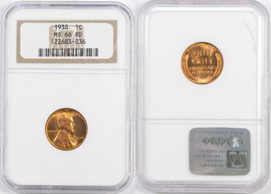 1938 P Lincoln Wheat Cent (NGC) MS66RD.