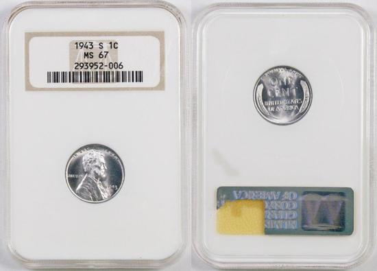 1943 S Lincoln Wheat Steel Cent (NGC) MS67.