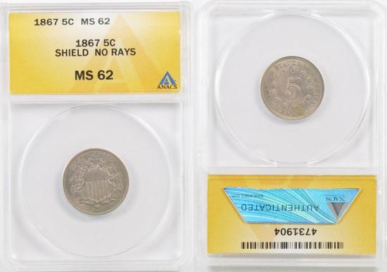 1867 No Rays Shield Nickel (ANACS) MS62.