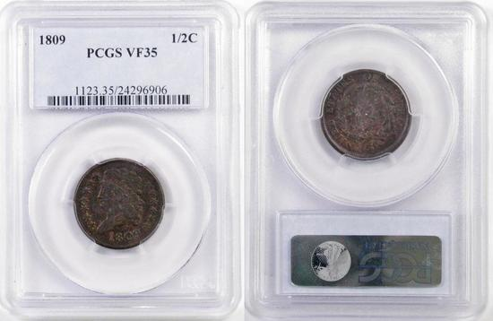 1809 Classic Head Half Cent (PCGS) VF35.
