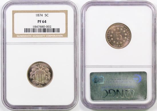 1874 Shield Nickel (NGC) PF64.