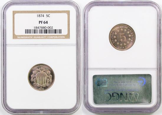 1874 Shield Nickel (NGC) PF64.