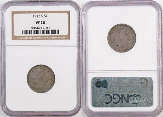 1912 S Liberty Head Nickel (NGC) VF20.