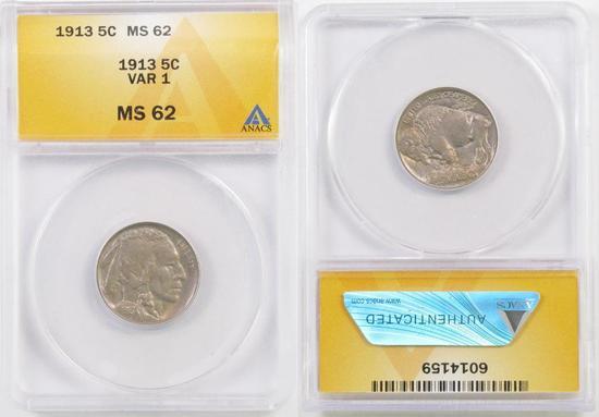 1913 P Ty.1 Buffalo Nickel (ANACS) MS62.