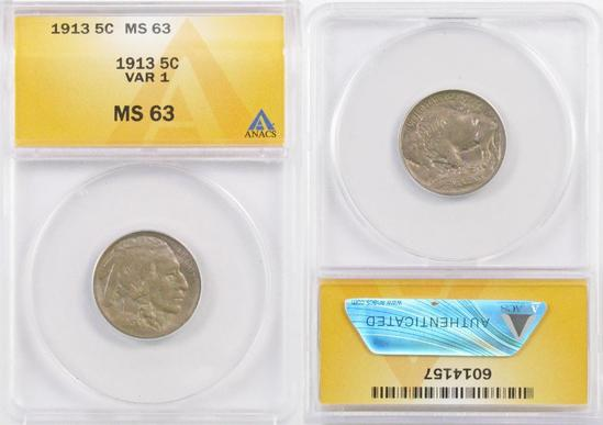 1913 P Ty.1 Buffalo Nickel (ANACS) MS63.