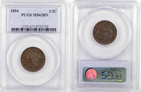 1854 Braided Hair Half Cent (PCGS) MS62BN.
