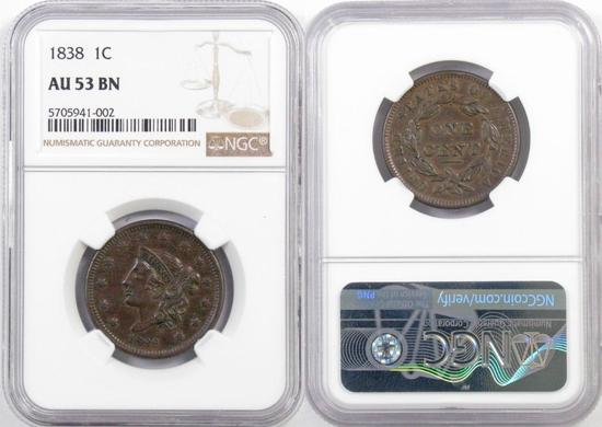 1838 Coronet Head Large Cent (NGC) AU53BN.