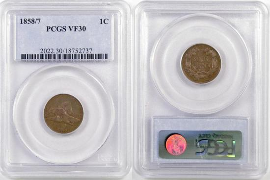 1858/7 Flying Eagle Cent (PCGS) VF30.