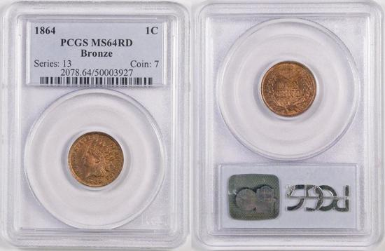 1864 Indian Head Cent Bronze (PCGS) MS64RD.
