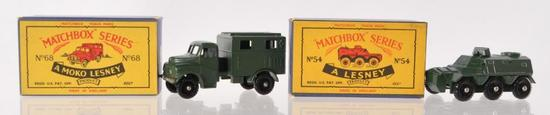 Group of 2 Matchbox Militray Die-Cast Vehicles with Original Boxes