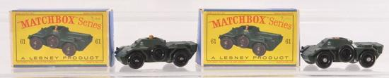 Group of 2 Matchbox No. 61 Army Scout Cars with Original Boxes