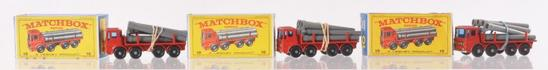 Group of 3 Matchbox No. 10 Pipe Truck Die-Cast Vehicles with Original Boxes