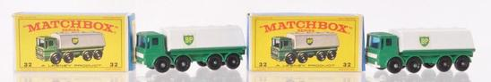 Group of 2 Matchbox No. 32 Leyland BP Tanker Die-Cast Vehicles with Original Boxes