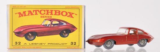 Matchbox No. 32 'E' Type Jaguar Die-Cast Vehicle with Original Box