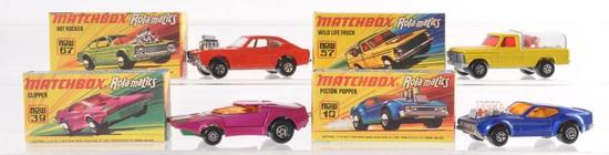Group of 4 Matchbox Rolamatics Die-Cast Vehicle with Original Boxes