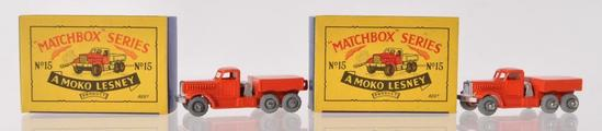 Group of 2 Matchbox No. 15 Prime Mover Die-Cast Vehicles with Origianl Boxes