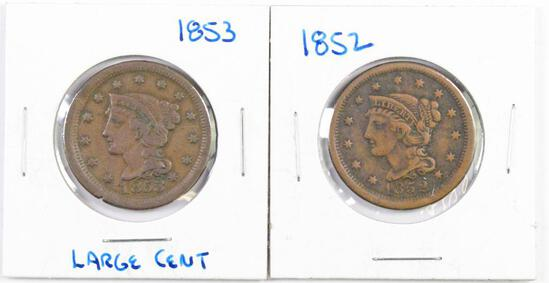 Group of (2) Braided Hair Large Cents.