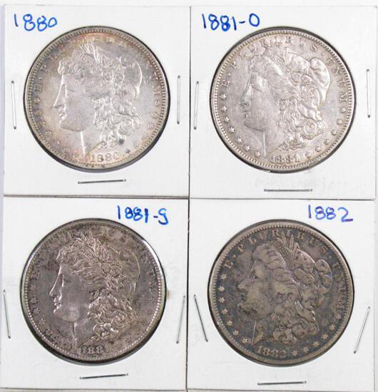 Group of (4) Morgan Silver Dollars.