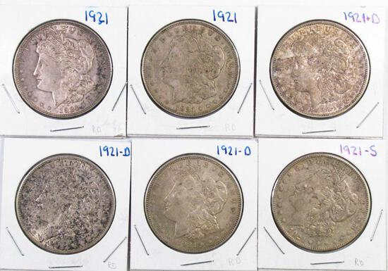 Group of (6) Morgan Silver Dollars.