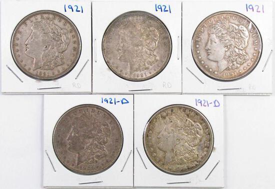 Group of (5) Morgan Silver Dollars.