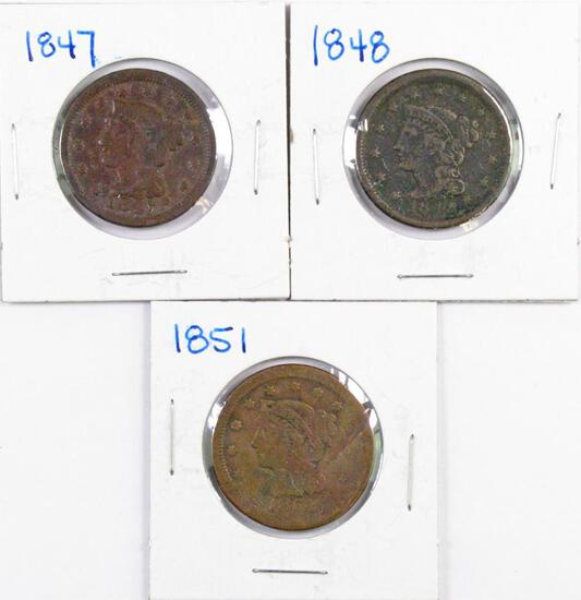Group of (3) Braided Hair Large Cents.