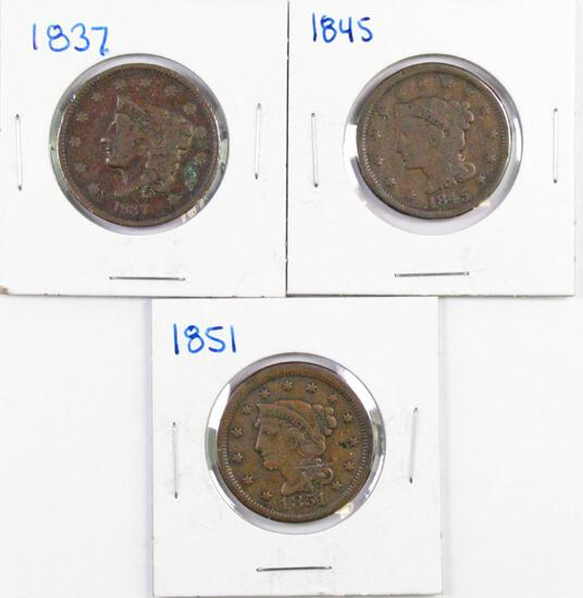 Group of (3) Coronet & Braided Hair Large Cents.