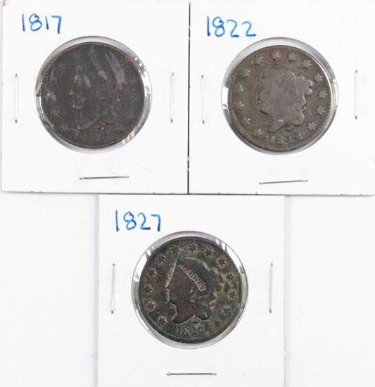 Group of (3) Coronet Large Cents.