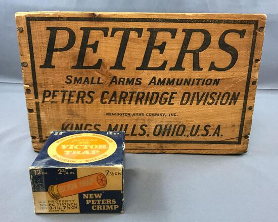 Vintage Peters Ammunition Crate with Shotgun Shells