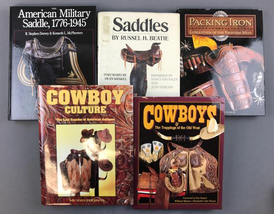 Group of 5 hard cover books about Cowboys, saddles, gun leather